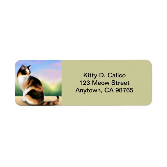 Chat de calicot amical personnalisable étiquette d'adresse retour