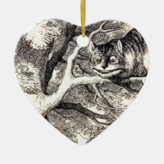 Chat de Cheshire Ornement Cœur En Céramique