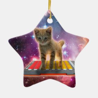 chat de clavier - chat tigré - minou ornement étoile en céramique