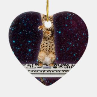 chat de clavier - chats drôles - amoureux de les ornement cœur en céramique