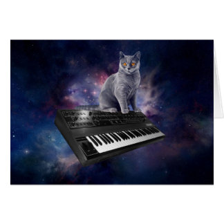 chat de clavier - musique de chat - espacez le cartes de vœux