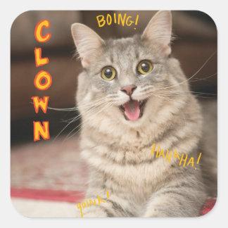 Chat de clown sticker carré