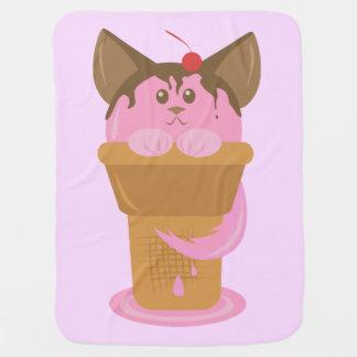 Chat de crème glacée de fraise couvertures pour bébé