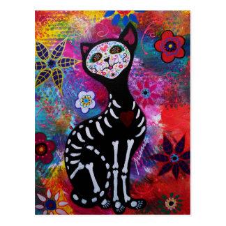Chat de Dia de los Muertos Meow par Prisarts Cartes Postales