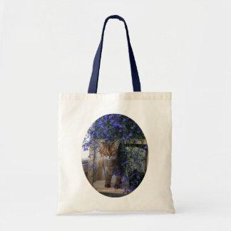 Chat de fleur (ovale) sacs en toile