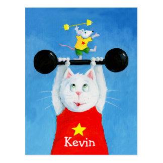 Chat de formation et carte postale drôle de souris