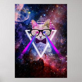 Chat de galaxie de hippie poster