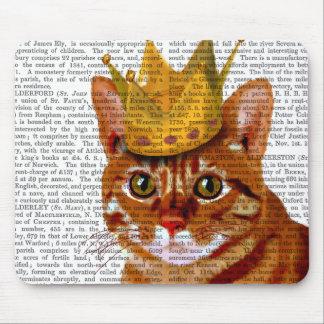 Chat de gingembre avec la couronne Portrai Tapis De Souris