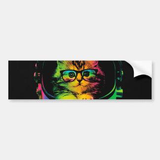Chat de hippie - astronaute de chat - espacez le autocollant pour voiture