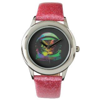 Chat de hippie - astronaute de chat - espacez le montres bracelet