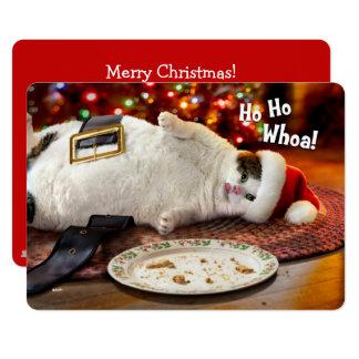 Chat de la photo | Père Noël et biscuit faits sur Carton D'invitation 12,7 Cm X 17,78 Cm