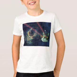 Chat de laser avec des verres dans l'espace t-shirt
