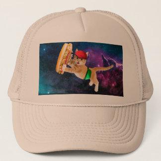 Chat de l'espace avec le sandwich et le casquette
