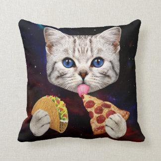 Chat de l'espace avec le taco et la pizza oreillers