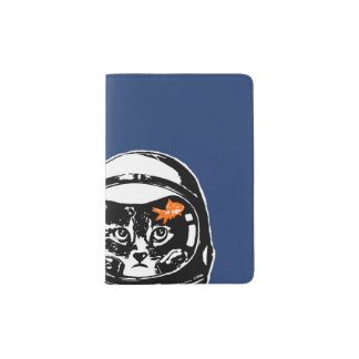 Chat de l'espace et le poisson rouge protège-passeport