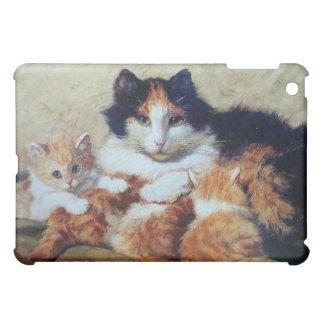 Chat de mère avec ses chatons étuis iPad mini