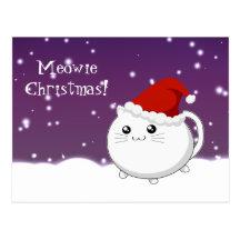 Chat de minou de Noël de Kawaii Cartes Postales