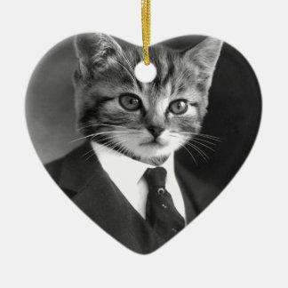 Chat de monsieur ornement cœur en céramique