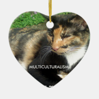 Chat de multiculturalisme ornement cœur en céramique
