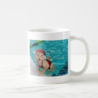 chat de natation mug