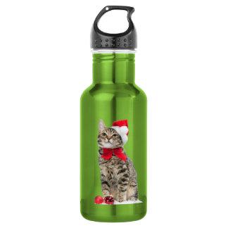 Chat de Noël - chat du père noël - chaton mignon Bouteille D'eau En Acier Inoxydable