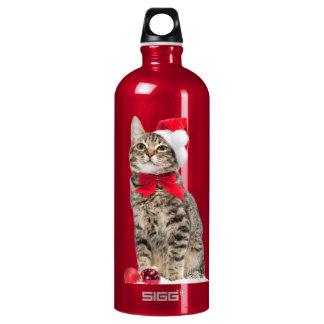 Chat de Noël - chat du père noël - chaton mignon Bouteille D'eau En Aluminium