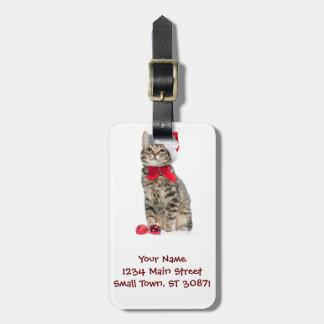 Chat de Noël - chat du père noël - chaton mignon Étiquette À Bagage