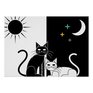 Chat de nuit de chat de jour poster
