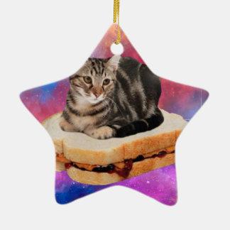 chat de pain - chat de l'espace - chats dans ornement étoile en céramique