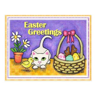 Chat de Pâques et carte postale de poussin
