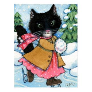 Chat de patinage de glace - carte postale mignonne