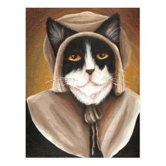 Chat de pèlerin habillé dans des vêtements carte postale