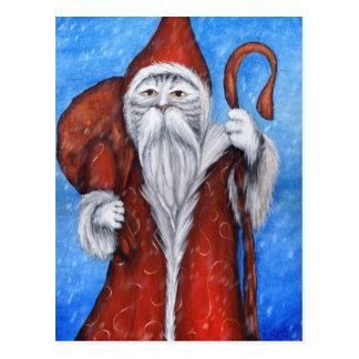 Chat de Père Noël, carte de Noël de Saint-Nicolas