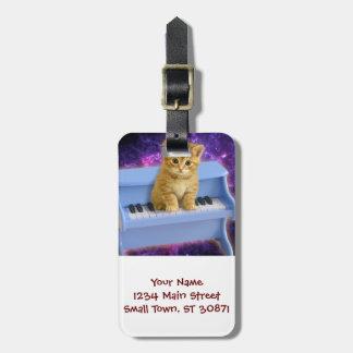 Chat de piano étiquette à bagage