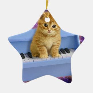 Chat de piano ornement étoile en céramique