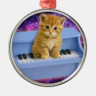 Chat de piano ornement rond argenté