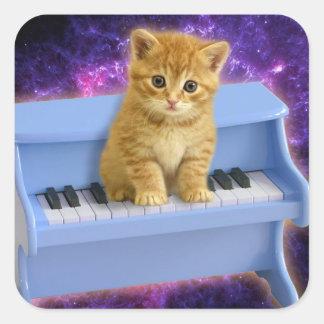 Chat de piano sticker carré