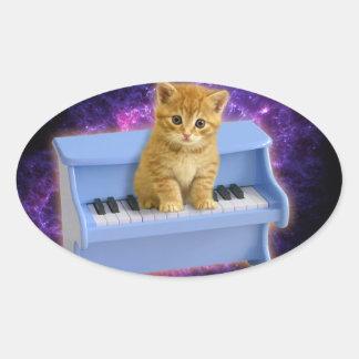 Chat de piano sticker ovale