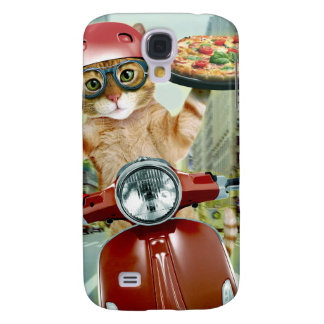 chat de pizza - chat - la livraison de pizza coque galaxy s4