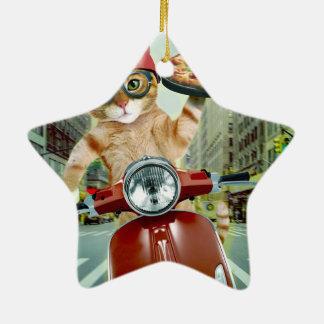 chat de pizza - chat - la livraison de pizza ornement étoile en céramique