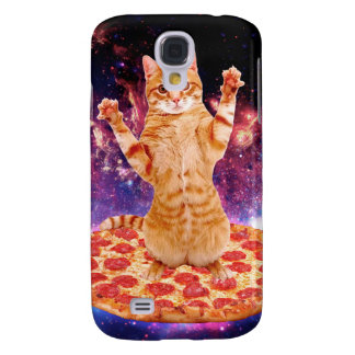 chat de pizza - chat orange - espacez le chat coque galaxy s4