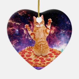 chat de pizza - chat orange - espacez le chat ornement cœur en céramique