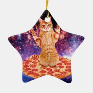 chat de pizza - chat orange - espacez le chat ornement étoile en céramique