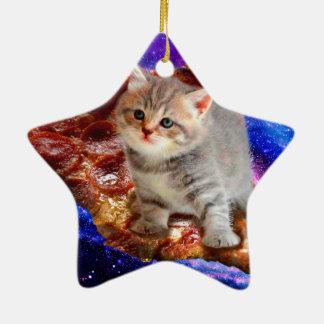 chat de pizza - chats mignons - minou - chatons ornement étoile en céramique