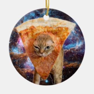 Chat de pizza dans la tranche de port de pizza de ornement rond en céramique