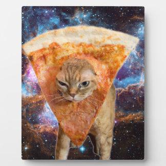 Chat de pizza dans la tranche de port de pizza de plaques d'affichage