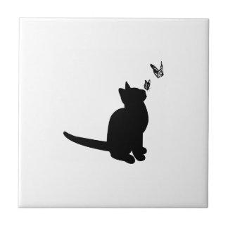 Chat de silhouette petit carreau carré