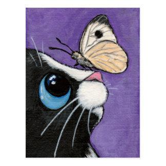 Chat de smoking et peinture blanche de papillon cartes postales