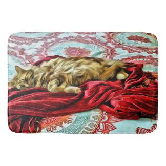 Chat de sommeil sur une couverture tapis de bain
