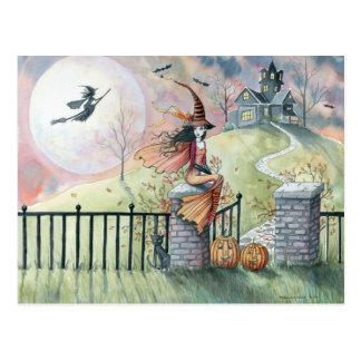 Chat de sorcière de carte postale de Halloween de